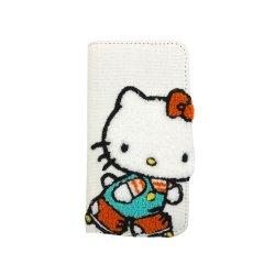 ハローキティ iPhoneX対応 刺繍フリップカバー Aタイプ・SAN-778A